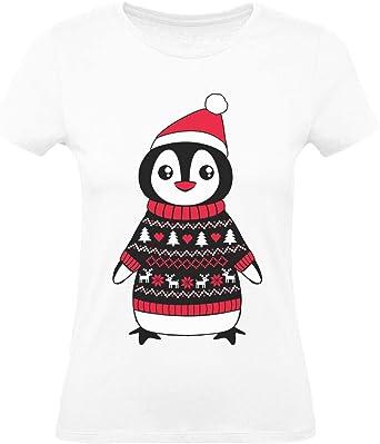 Green Turtle T-Shirts Camiseta para Mujer - - Pingüino Navideño - Adorable Diseño para Navidad: Amazon.es: Ropa y accesorios