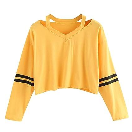 YUNJING Sudadera para Mujer Ropa De Mujer Sudadera con Capucha Rayas Amarillas Suéteres Cortos Sexy Primavera