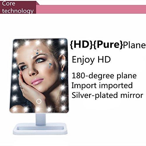 LED de espejo de escritorio Magnifier Luz ajustable Princesa Espejo de tocador con la lámpara 10 veces Times Lupa de 180 °...