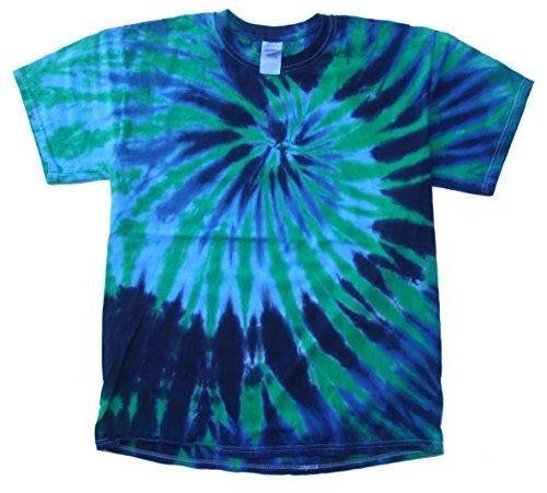 Rockin' Cactus Men's Tie Dye T-Shirt-Blue & Green Spider-S