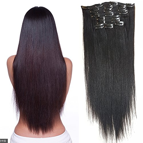 Hannah Queen Hair Brazilian Clip In Hair Extensions #1B Natural Black Grade 8A Double Weft 100% Remy Human Hair Full Head Straight 10pcs 22clips for Women Beauty (22 inch 200g,#1B Natural Black) (Human Hair Extensions 200g)