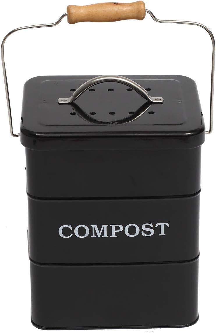 1 gal/ón incluye filtro de carb/ón cubo de basura de cocina Ayacatz Cubo de compost de acero inoxidable para cocina cubo de compost de cocina con tapa