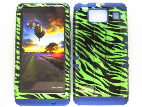 Motorola Green Transparent Faceplates (HYBRID IMPACT SILICONE CASE + NAVY BLUE SKIN FOR MOTOROLA DROID RAZR HD XT926 TRANSPARENT GREEN ZEBRA)