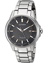 Citizen Mens Eco-Drive Titanium Watch with Date, AW1490-50E