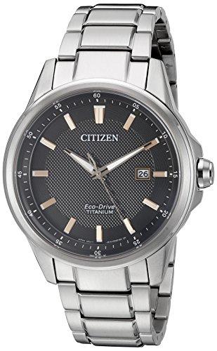Citizen Men's Eco-Drive Titanium Watch with Date, (50e Mens Eco Drive)