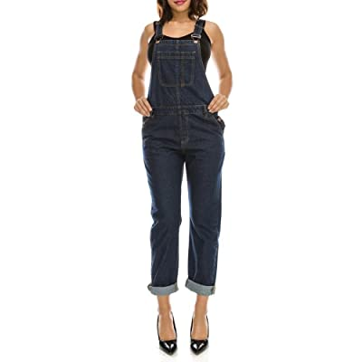 TwiinSisters Women's Basic Boyfriend Denim Slim Fit Straight Bib Overalls Size Small To Large