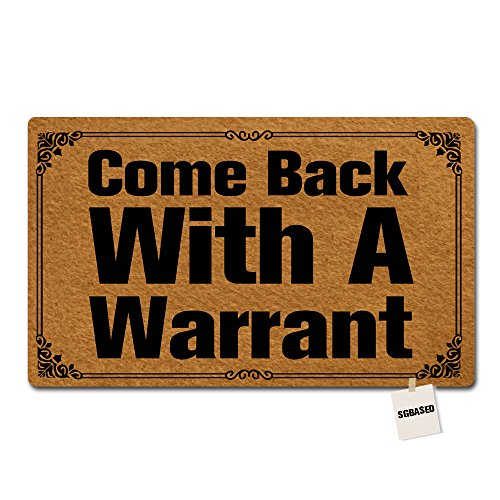 Multi Novelty Rug - SGBASED Door Mat Come Back with A Warrant Mat Washable Floor Entrance Outdoor & Indoor Rug Doormat Non-Woven Fabric (18 X 30 inches)