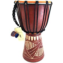 """Djembe Drum Bongo Congo African Solid Wood Drum Hand Carved - MED SIZE- 12"""", JIVE (TM) BRAND, Professional Premium Quality With Heavy Base/Includes Drum Key Chain"""