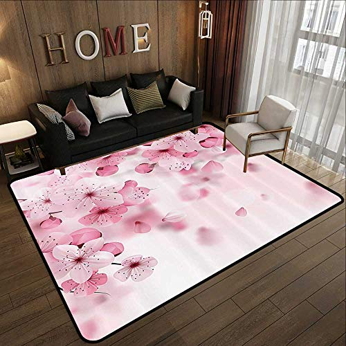 """Price comparison product image Kids Rugs for playroomFloral, Japanese Sakura Flowers Blossoms Eastern Spring Nature Theme Illustration, Light Pink Baby Pink 35""""x 59"""" Designed Kitchen Bathroom Floor Mat"""