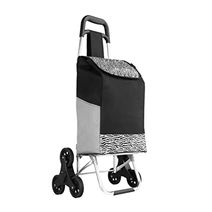 WE&ZHE Stair Climbing Shopping Cart, Upgraded Folding Utility Grocery Laundry Shopping Trolley with Tri-
