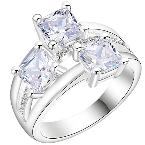 FENDINA Womens Silver Plated Vintage Triple Round Cut CZ Crystal Promise Engagement Wedding Bands Bridal Eternity Anniversary Rings for Her Valentin's Day Gift