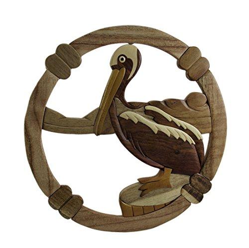 Zeckos Coastal Pelican Hand Crafted Intarsia Wood Art Wall Hanging