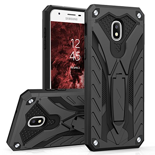 Zizo Static Series Compatible with Samsung Galaxy J7 2018 Case Military Grade Drop Tested with Built in Kickstand Galaxy J7 Refine J7 Star Black