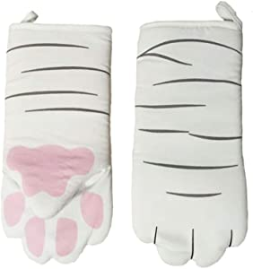 Oven Mitts Kitten, Quilted Cotton Lining- Cat Paw Design Heat Resistant Pot Holder Gloves for Grilling & Baking Gloves BBQ, Microwave (Cat Paw)