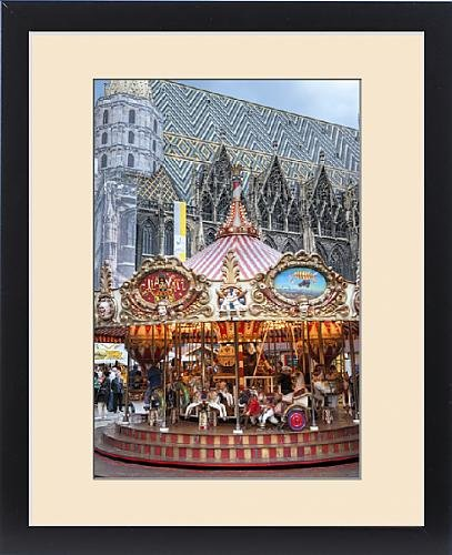 Framed Print of Europe, Austria, Vienna, carousel, St. Stephen s Cathedral by Fine Art Storehouse