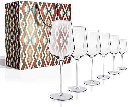 Copas de Vino, Juego de 6 Copas de Vino Tinto(Capacidad: 50.5 cl), Copas de Vino Blanco con un Tallo Largo para una cumpleaños, Aniversarios, Navidad 505ML