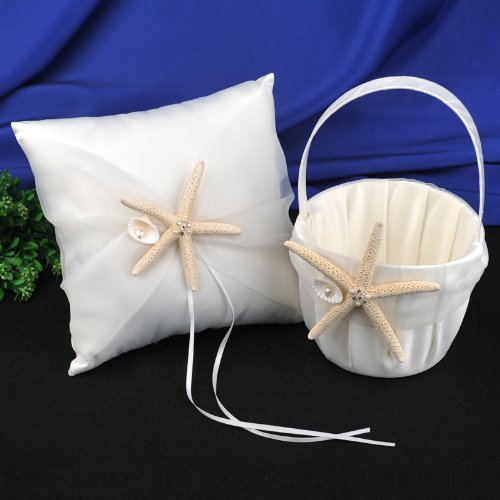 AWEI Satin and Organza Ivory Wedding Ring Bearer Pillow and Flower Girl Basket Set with Starfish by AWEI