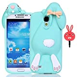 Vandot Samsung Galaxy S4 I9500 Phone Case,Luxury Soft Rubber Silicone Back Cover 3D Lovely Funny Bow Ears Buck Teeth Bunny Cartoon Case Skin Shell+Universal Red Anti Dust Plug Earphone Jack-Green