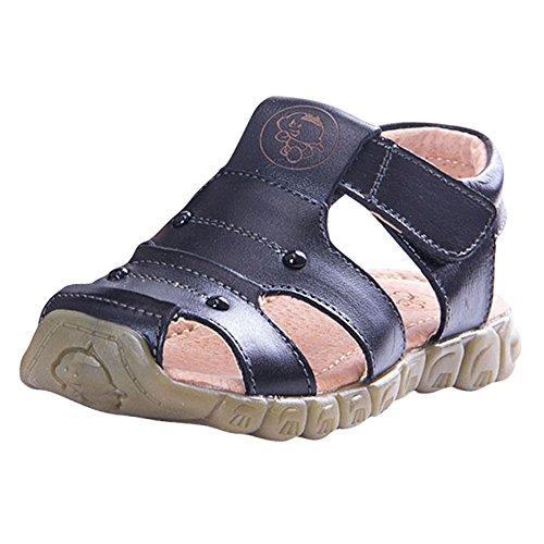 (Tortor 1Bacha Kid Boys' Leather Closed Toe Outdoor Fisherman Sandal Black 10.5 M US Little Kid)