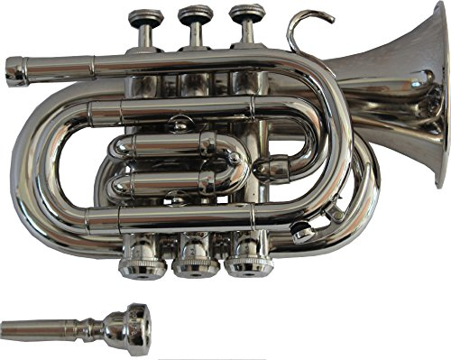 TRUMPET POCKET Bb NICKEL PLATED WITH BAG 7C MOUTH PIECE by Chopra (Image #1)