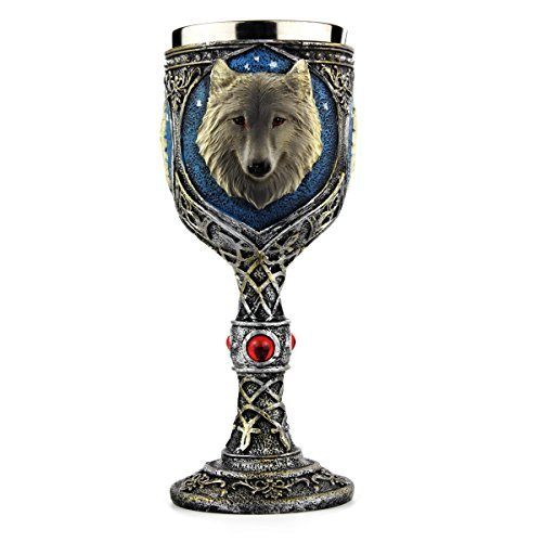 Stainless Steel Wolf Goblet, EZESO Resin 3D Wolf Coffee Cup Stainless Steel Travel Tea Wine Beer Mugs(Goblet) by Ezeso