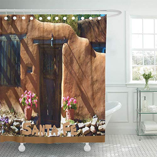 Santa Fe Shower Curtain Hooks - Semtomn Shower Curtain Adobe Santa Fe New Mexico Door Wooden Famous Cities 72