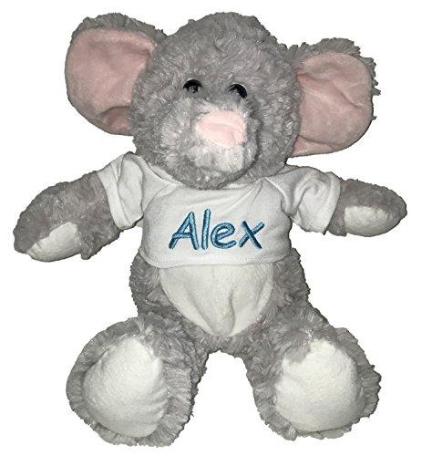 Personalized Elephant with T-Shirt Sitting Plush Stuffed Animal Toy - Baby Blue]()