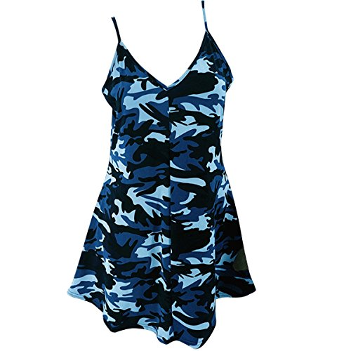 Femme Robe Boheme sans Bretelle Camouflage Robe Causal Mode Lger Tank Tunique Bleu