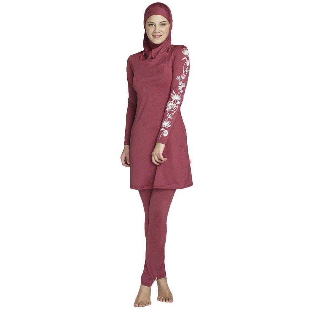 donne Plus size stampato floreale Swimwear Musulmano islamico arabo costume da bagno donna Hijab Muslim nuoto Beachwear Mr Lin123