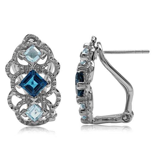 (Genuine London Blue Topaz 925 Sterling Silver Vintage Style Filigree Omega Clip Earrings)