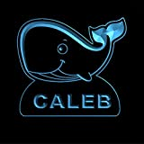 ws1037-0434-b CALEB Whale Night Light Nursery Baby Kids Name Day/ Night Sensor LED Sign