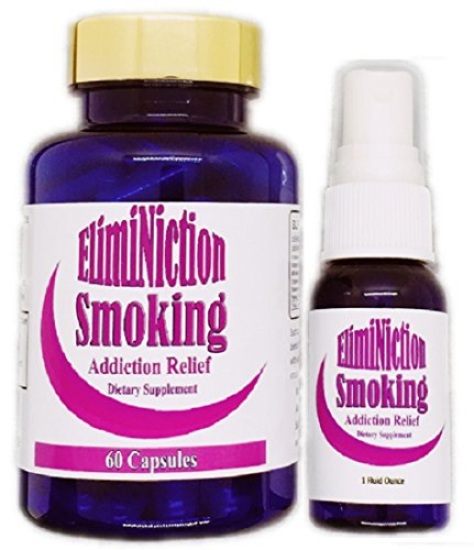 Eliminiction Smoking Addiction Relief Capsules & Spray Combo - Reduces Cravings and Withdrawal Symptoms for Nicotine & Cigarettes - Natural Herb Supplements to Lower Stress & Quit Smoking