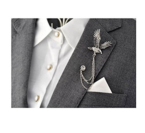 Men's Elegant Silver Tone Eagle Cross Crystal Chain Brooch Pin Lapel Stick for Suit Pin Brooch Badge for Tie Hat ()