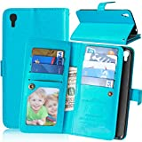 Alcatel Idol 3 ( 5.5 inch ) Case,YiLin [Wallet Case] 9 Card Holder [Detachable Wallet Folio] Premium PU Leather Cover Case with [Card Slots] [Stand] for Alcatel OneTouch IDOL 3 (5.5 inch) [Blue]