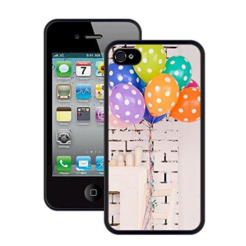 Bunte Ballone | Handgefertigt | iPhone 4 4s | Schwarze Hülle