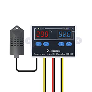 KETOTEK Humidity Controller Temperature Controller 120V, Heating Cooling Digital Thermostat with Probe, Humidifier Dehumidifier Controller for Incubator Greenhouse