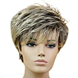 Peluca para mujer, de material sintético, pelo corto recto, tan natural que parece