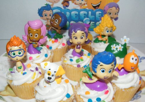 Nickelodeon Bubble Guppies Deluxe Figure Set of 10 Cake Toppers Cupcake Toppers Party -