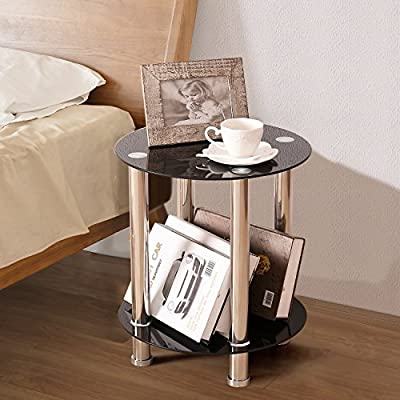 TAVR Furniture Tempered Glass end Table,Sofa Table,Night Table (Round)