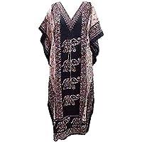 Namoram Black Elephant Tribal Ethnic Print Long Kaftan Bathing Nightdress Maxi Kaftan Plus Size Cover up Dresses for…
