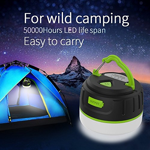 LAOPAO Portable Led Camping Lantern, 5200 Mah Power Bank Rechargeable, Tent Light Waterproof Flashlight with Magnetic Base, Hook or Outdoor Activities, Emergency, Hiking, Hurricane by