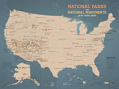 - Best Maps Ever US National Parks & Monuments Map 18x24 Poster (Tan & Slate Blue)