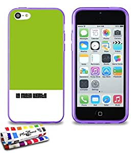 Carcasa Flexible Ultra-Slim APPLE IPHONE 5C de exclusivo motivo [Pulgar verde] [Violeta] de MUZZANO  + ESTILETE y PAÑO MUZZANO REGALADOS - La Protección Antigolpes ULTIMA, ELEGANTE Y DURADERA para su APPLE IPHONE 5C