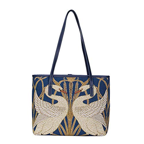 Signare Tapestry Walter Crane Swan, Rush and Iris Tote Fashion Bag (COLL-ART-WC-SWAN)
