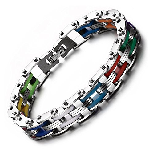Stainless Steel & Silicone Motorcycle Bicycle Chain Link Bracelets for (Multi Color Chain)
