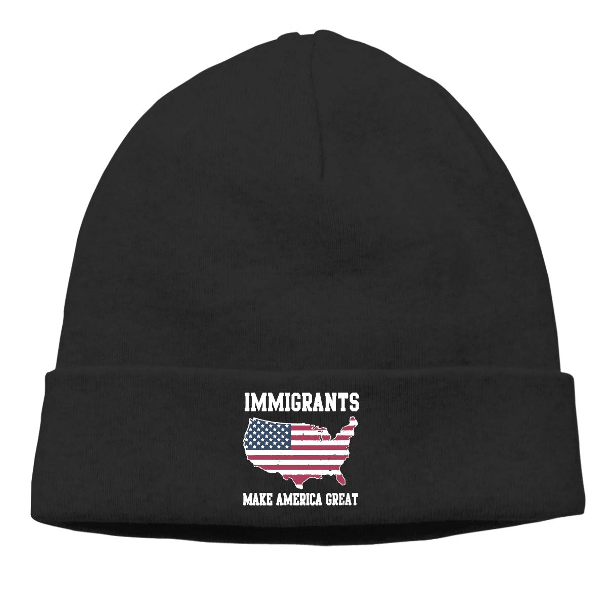 DFKD JKFD Unisex Knitted Hat Skull Hat Beanie Cap for Mens and Womens Immigrants Make America Great