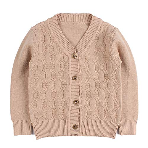 - Baby Boy Cardigan Infant Toddler Crochet Sweater V-Neck,Button Up,Knitted Pattern Pullover Sweatshirt Spring (2T, Khaki)