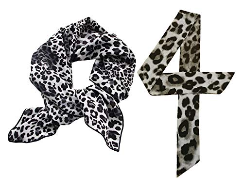 (GERINLY 2 Pack Leopard Neckerchief Square Scarf Spring Summer Neck Tie for Women (2 Pack))