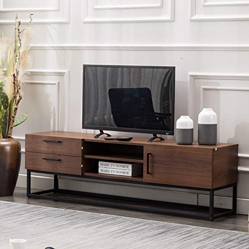 CANMOV TV Stand 59″for Living Room Entertainment Room, Mid-Century Furniture,Brown