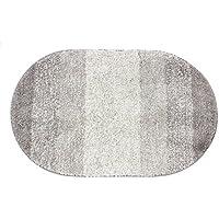 KEPSWET Super Soft Plush Gray Oval Bath Rug Mat 20x31 Non Slip Absorbent Polyester Area Rug for Bathroom Bedroom Home Decor
